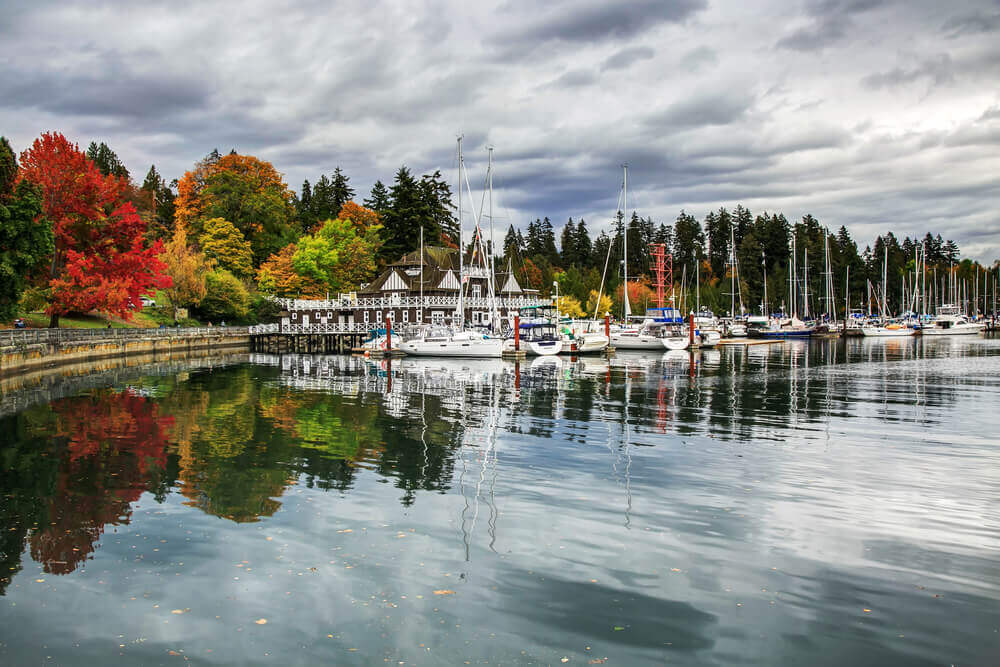 Colorful Stanley Park in an autumn
