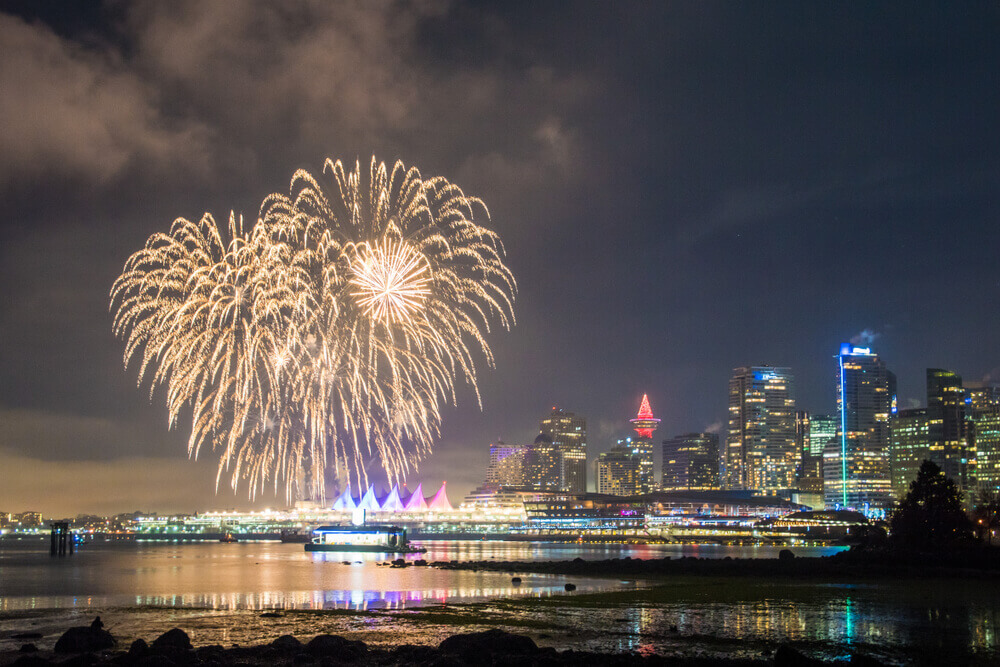 new years fireworks over Canada Place in Vancouver downtown
