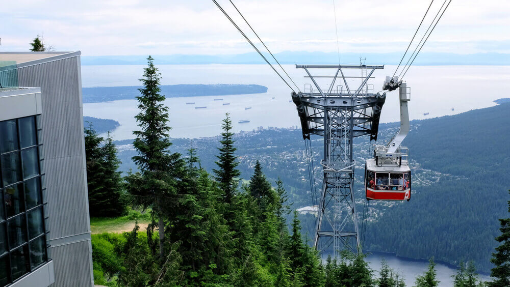 Sky ride on Grouse Mountains with Vancouver city