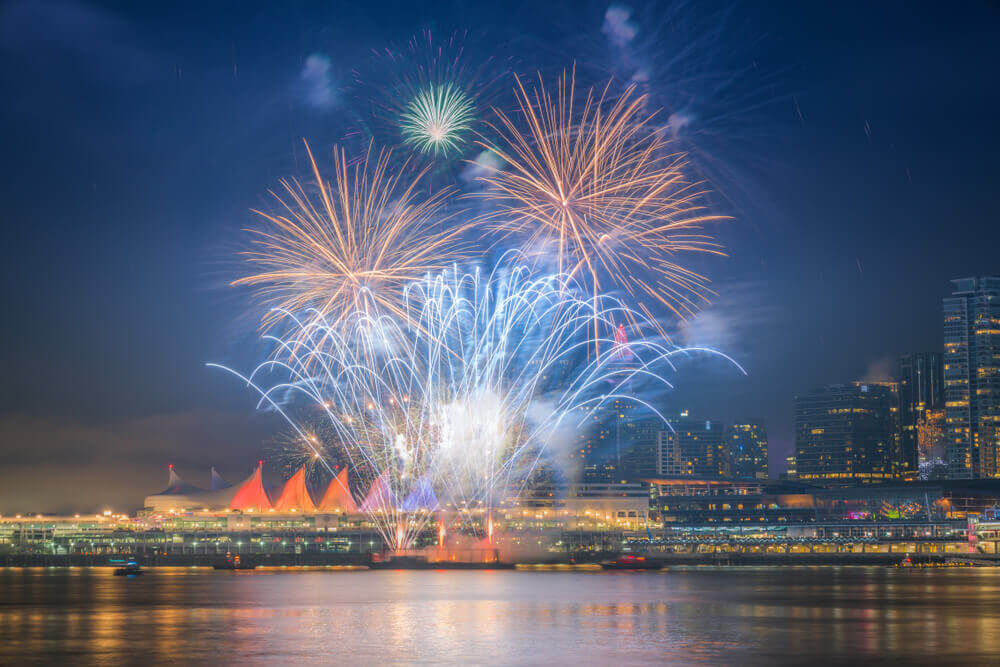 New year fireworks at Vancouver BC Canada